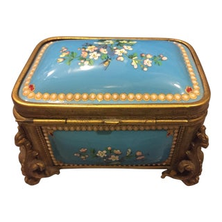 19th Century French Kiln-Fired Enamel Jewelry Casket For Sale