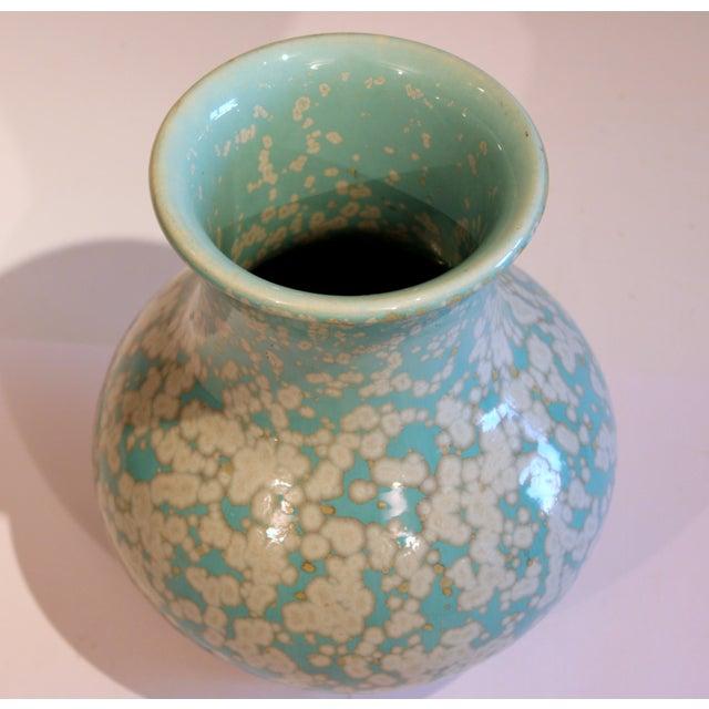 Sky Blue Japanese Studio Porcelain Antique Old Crystalline Sky Blue Hu Form Vase For Sale - Image 8 of 12