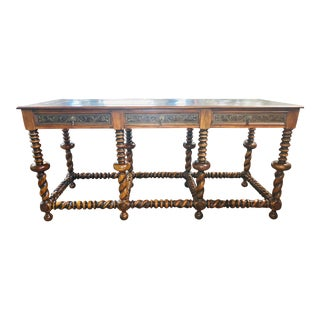 Theodore Alexander Walnut Console Table With Drawers and Brass Engraved Design For Sale