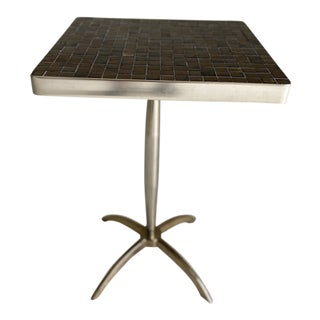 Mid-Century Modern Black and Bronze Mosaic and Chrome Side Table For Sale