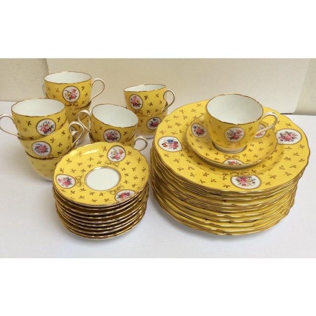 Vintage Spode China Set Yellow With Flowers - Set of 33 - Image 2 of 9