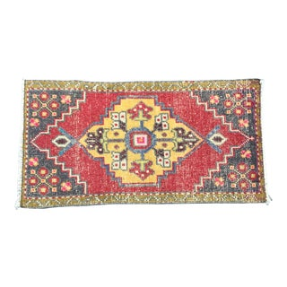 Vintage Turkish Decorative Red and Yellow Wool Rug For Sale