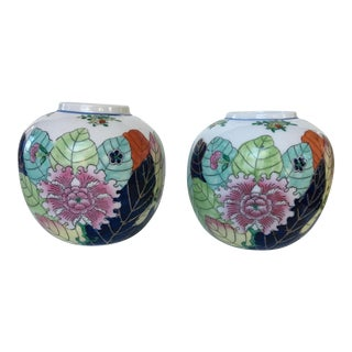 Chinese Tobacco Leaf Motif Ginger Jars / Vases - a Pair For Sale