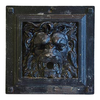 Antique 19th-C. French Iron Lion Relief Plaque For Sale