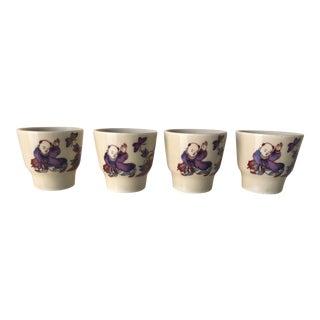 Vintage Japanese Ceramic Saki Cups S/4 For Sale