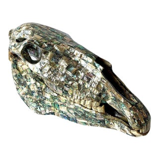 Rare Los Castillo Mexican Modern Abalone Horse Skull Sculpture For Sale
