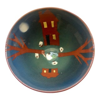 Hand Painted Farm Motif Terra Cotta Bowl For Sale