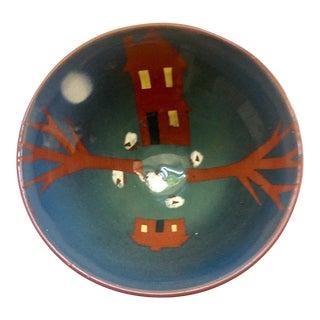 Hand Painted Farm Motif Terra Cotta Bowl For Sale