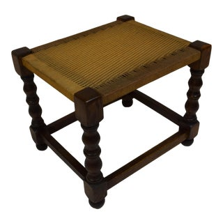 Vintage English Oak Foot Stool For Sale