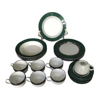 Dansk Emerald Braid Dinnerware - 19 Pieces, Reduced For Sale