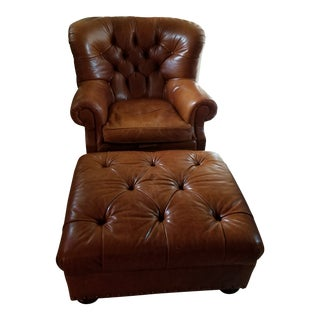Ralph Lauren Iconic Writer's Chair & Ottoman For Sale