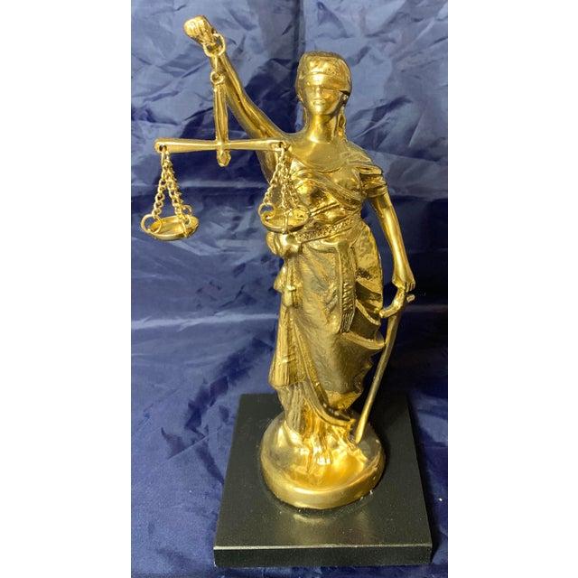 Vintage Blind Justice Gold Metal Spelter Figurine For Sale - Image 13 of 13