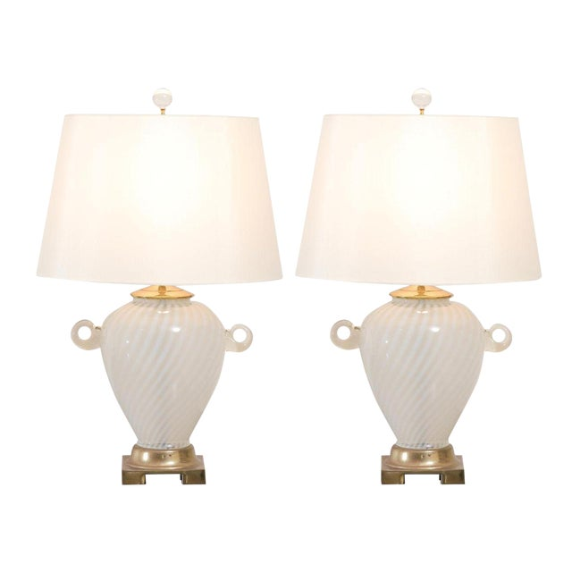 Outstanding Pair of Cream Murano Lamps with Blown Glass Handles For Sale