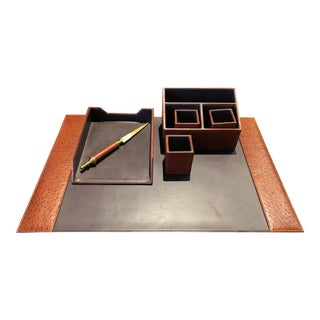 Maitland-Smith Regency Ostrich Leather Desk Set For Sale