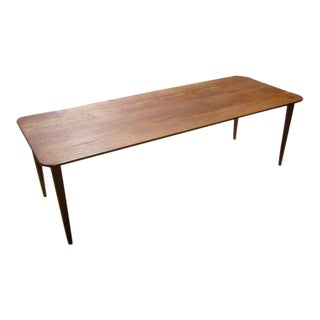 Exceptional Danish Solid Teak Longboard Coffee Table 1950's For Sale