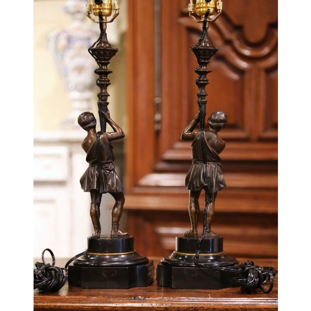 Pair of 19th Century French Patinated Bronze and Marble Figural Table Lamps For Sale - Image 12 of 13