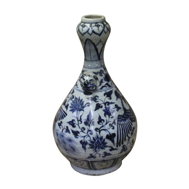 "Asian Chinese Blue White Porcelain Suantouping ""Garlic Head Shape"" Vase For Sale - Image 3 of 9"