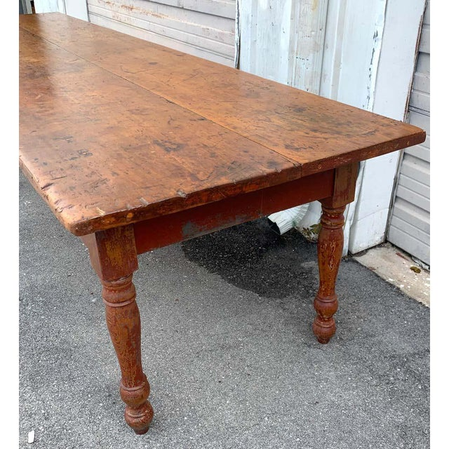 Late 19th Century Southern Red Paint and Chestnut Farm Table For Sale In West Palm - Image 6 of 13