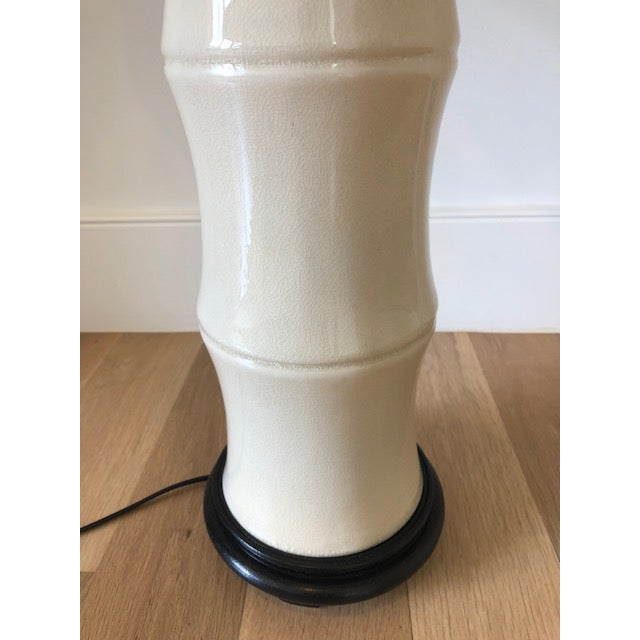 Asian Modern Cream Crackle Glaze Table Lamp With Black Linen Tapered Drum Shade For Sale - Image 4 of 7