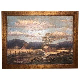 Signed Alice LeFevre Oil on Board of Pastoral New England For Sale