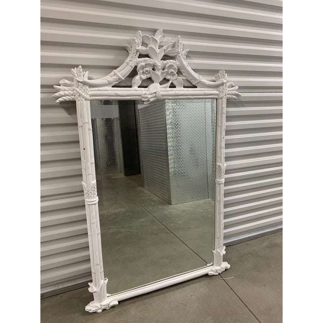 1970s Vintage White Pagoda Chinese Chippendale Mirror For Sale - Image 5 of 5