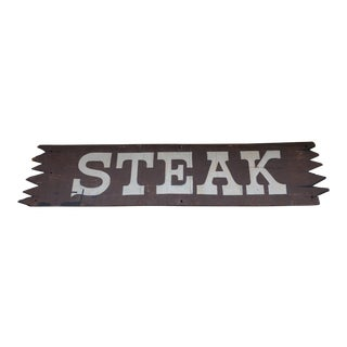 Vintage Wooden Steak Sign For Sale