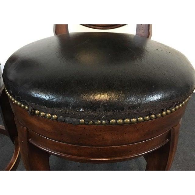 Mahogany & Black Leather Swivel Bar Stools - A Pair - Image 6 of 11