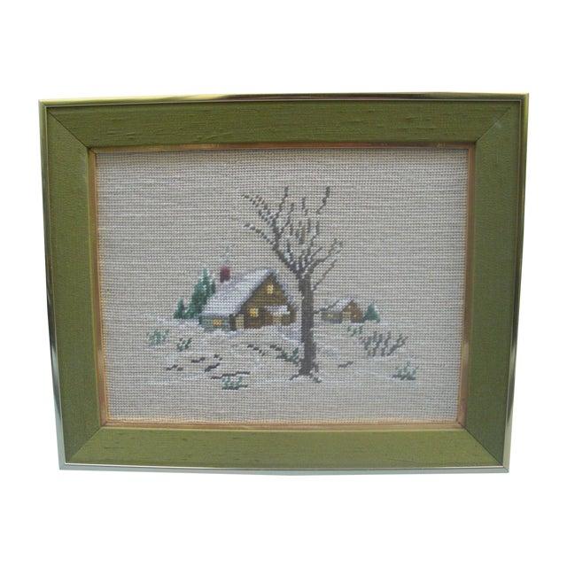 Winter Scene Needlepoint in Green Frame - Image 1 of 3