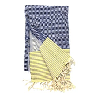 Turkish Tamam Navy + Yellow Checkers + Stripes Handwoven Cotton Towel For Sale