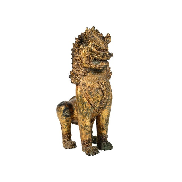 Antique Cambodian Gilt Bronzed Foo Dogs - A Pair For Sale - Image 7 of 8