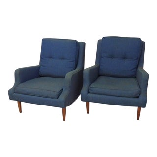 Pair of as Found Erno Fabry Tall Lounge Chairs With Ottoman For Sale