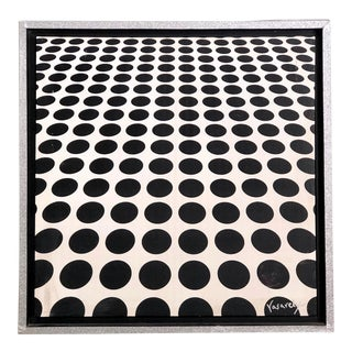 Black and White Op Art Painting in the Manner of Vasarely