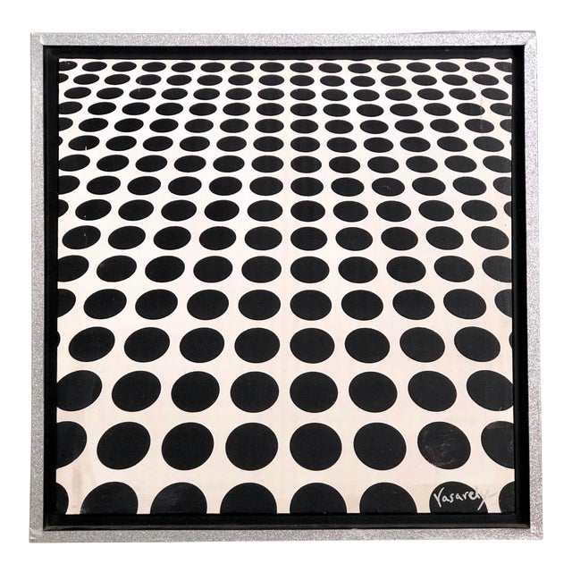 Black and White Op Art Painting in the Manner of Vasarely For Sale