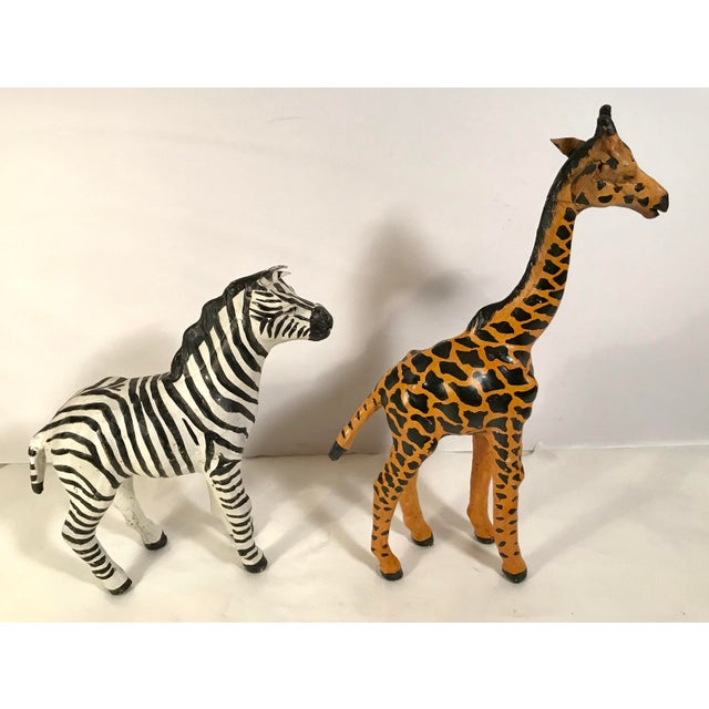 3a79aa79bc Vintage Paper Mache Giraffe and Zebra Figurines - a Pair For Sale In Dallas  - Image
