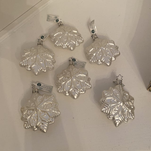 Inge Glass Snowflake Ornaments - Set of 6 For Sale - Image 13 of 13