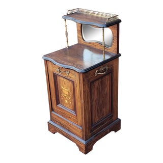 Antique 19th Century English Regency Rosewood Coal Scuttle Purdonium Cabinet C1880s For Sale
