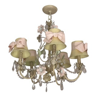 Pink and Green Floral With Bows Crystal Chandelier For Sale