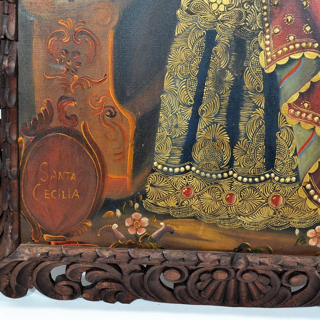"""Religious """"Cuzco School"""" Religious Art, Oil on Canvas of St. Cecilia, Patron Saint of Music. For Sale - Image 3 of 4"""