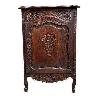 Petite Antique French Carved Dark Oak Corner Cabinet Shelf Bookcase Louis XV For Sale