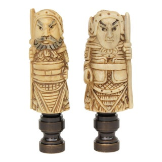 Japanese Netsuke Lamp Finials - a Pair For Sale