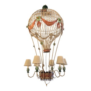 Vintage Italian Tole Metal Hot Air Balloon Chandelier For Sale