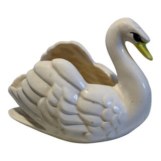 Late 20th Century Vintage Swan Pottery Ceramic Planter For Sale