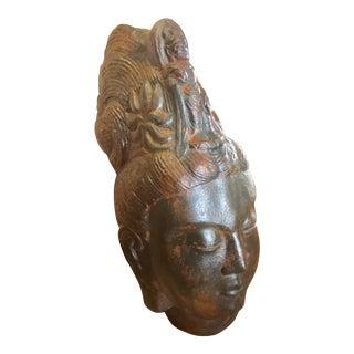 Large Metal Rust Finish Lord Shiva Head Scuplture