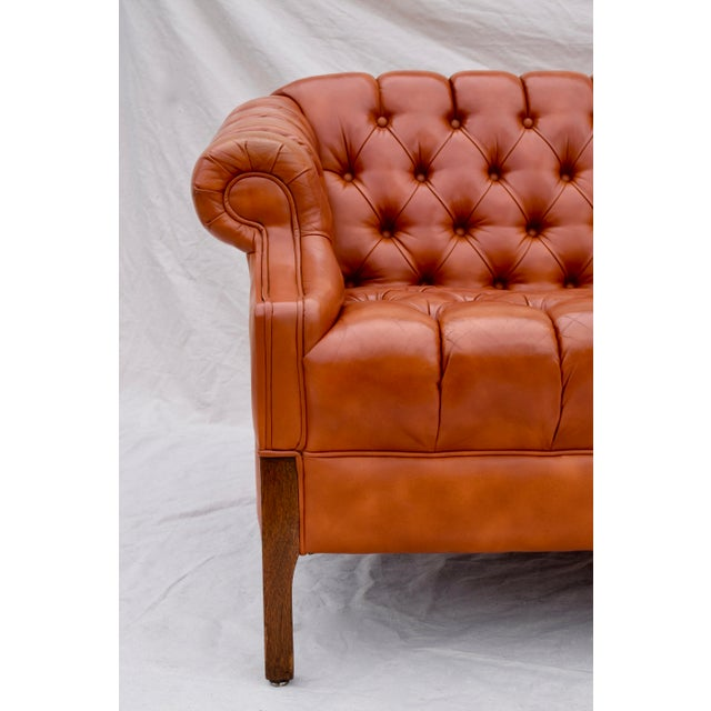 Mid-Century Modern Swedish Leather Chesterfield Sofa For Sale - Image 3 of 13