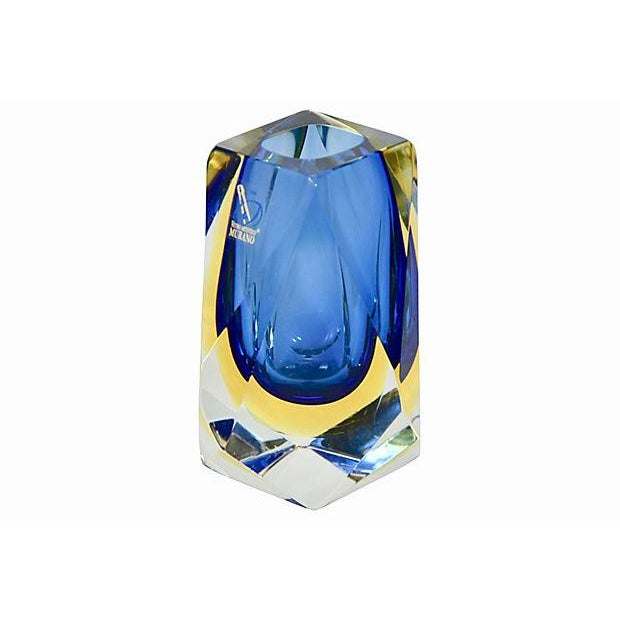 """Vintage Italian Murano Sommerso blue to yellow blown art glass artisan cut faceted vase with etched """"Mandruzzato,..."""