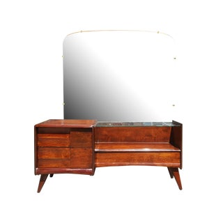 1950's Heywood Wakefield Mid-Century Modern Vanity with Mirror For Sale