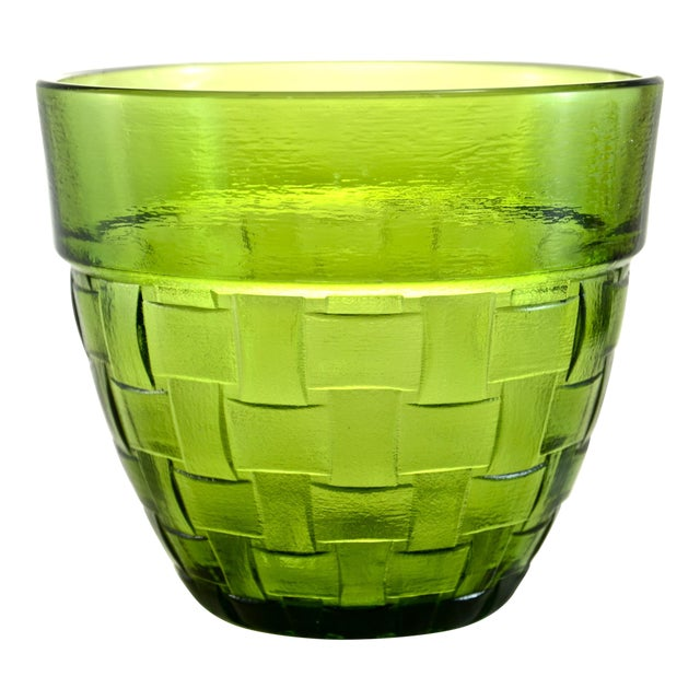 Anchor Hocking Green Basket Weave Glass Bowl For Sale