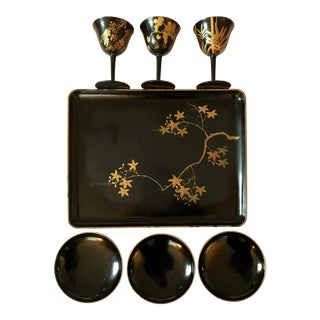 Late 20th Century Japanese Lacquer Stems & Bowl Set - 7 Pieces For Sale