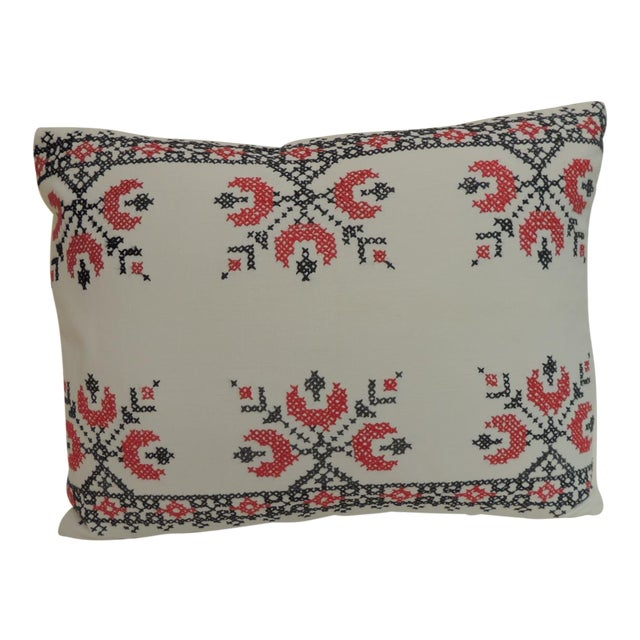 19th Century Cross-Stitch Red and Black German Embroidery Decorative Pillow For Sale