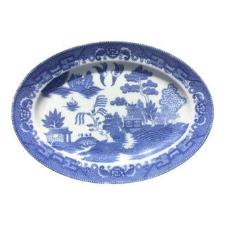 Vintage Blue Willow Serving Tray For Sale